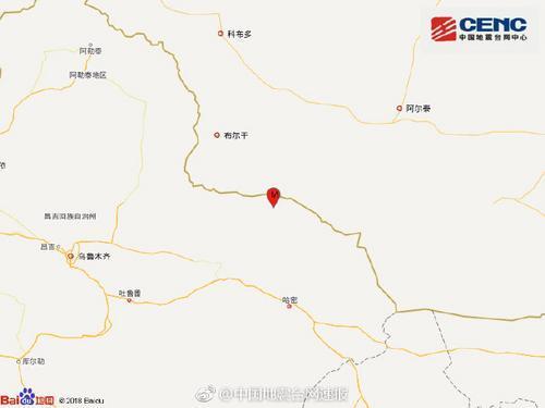 新疆哈密市巴里坤县发生4.5级地震 震源...