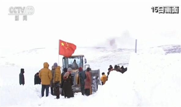 青海玉树部分因降雪中断的道路已打通 ...