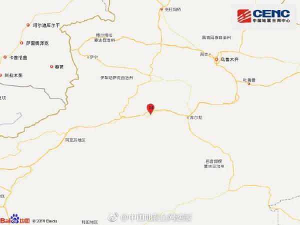 新疆轮台县发生3.0级地震 震源深度10千米